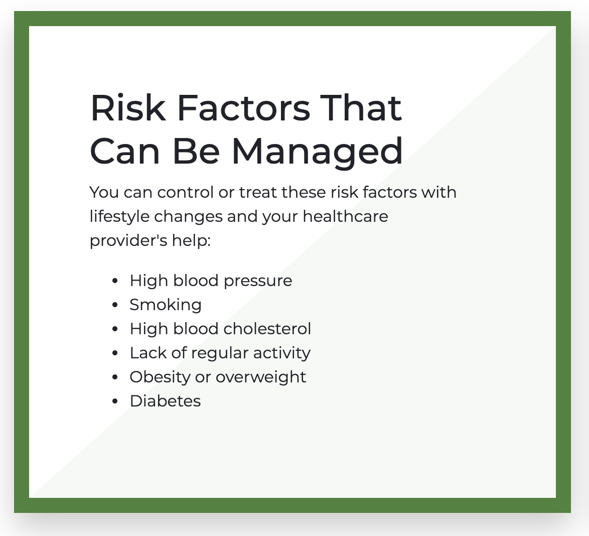 heart Risk Factors That Can Be Managed