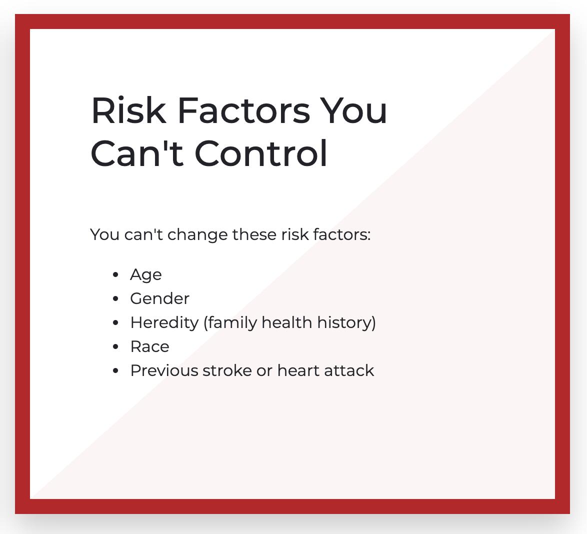 heart Risk Factors You Can't Control
