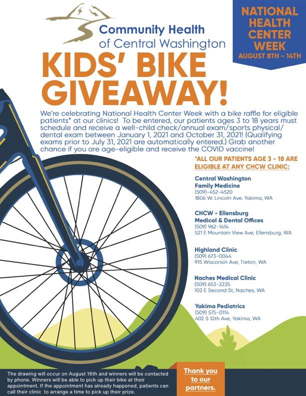 chcw bike giveaway fro national health center week